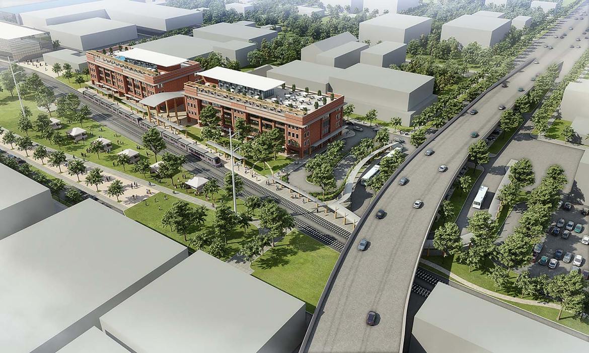 Rendering of the downtown Baton Rouge station for the New Orleans to Baton Rouge Passenger Rail
